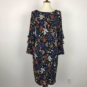 Calvin Klein Stretch Floral Tiered Sleeve Dress